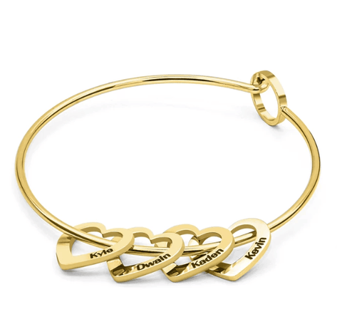LovingBox Bangle Bracelet With 4 Hearts Pendants - Jewelry & Watches/Fashion Jewelry/Bracelets & Bangles
