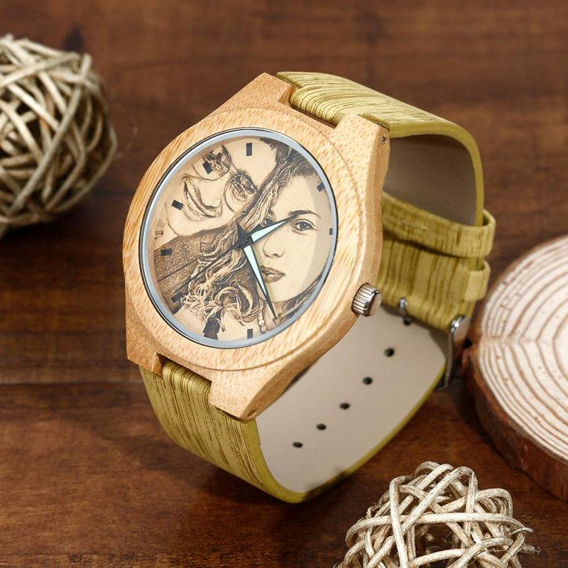 Custom Engraved Bamboo Photo Watch With Wooden Leather Strap - Jewelry & Watches / Fashion Jewelry / Bracelets & Bangles