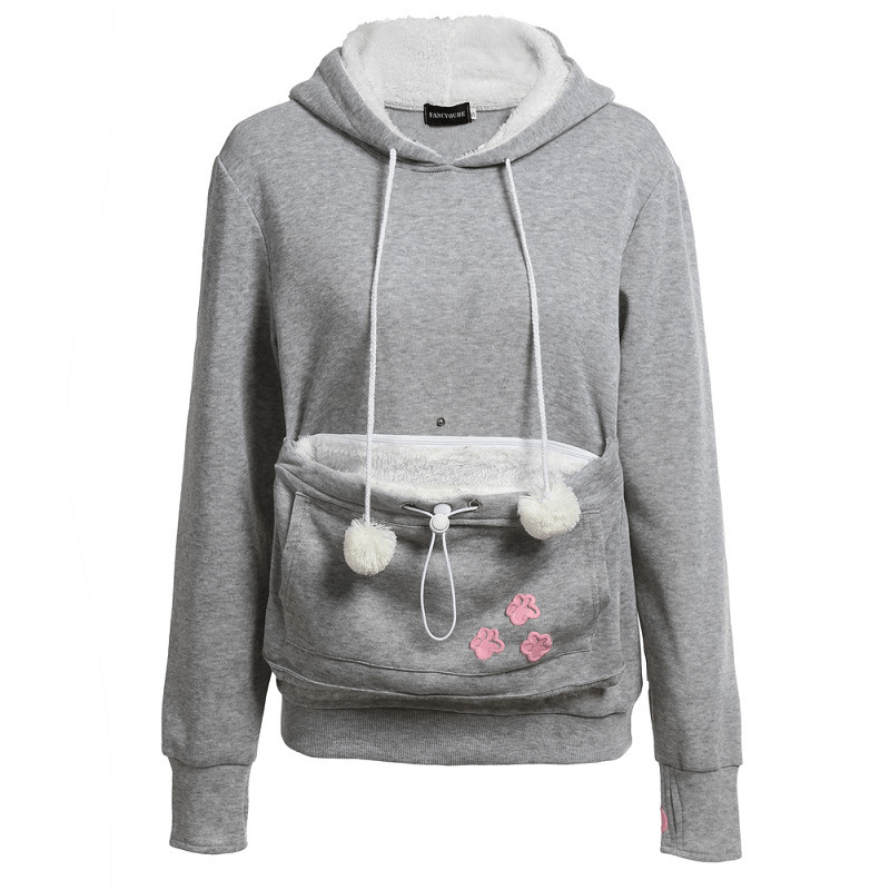 Cat Hoodie With Ears And Kangaroo Pouch Carrier - Women's Clothing / Tops & Sets / Hoodies & Sweatshirts