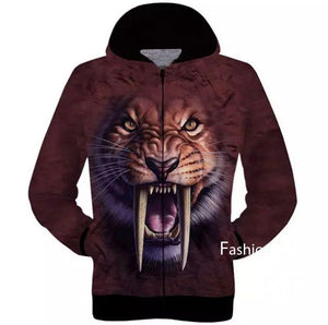 3D Animal Print Winter Jacket With Hoodie For Men