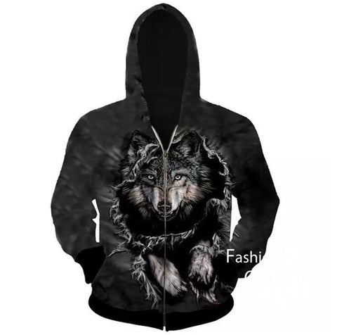 3D Animal Print Winter Jacket With Hoodie For Men - Men's Clothing / Outerwear & Jackets / Hoodies & Sweatshirts