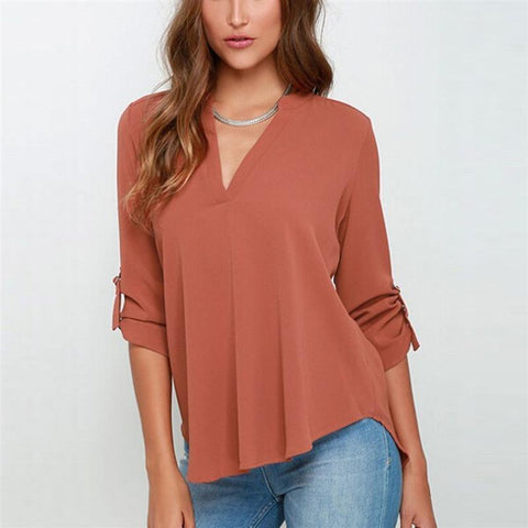 Image of V Collar Long Sleeved Chiffon Shirt Loose Sleeve With Folds For Women - Women's Clothing / Tops & Sets / Hoodies & Sweatshirts