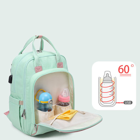Bottle Heating Multi-Function Mommy Bag|  Waterproof Travel Baby Backpack With USB Interface