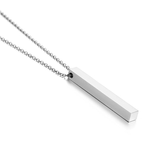 Image of Engraved Bar Necklace | Stainless Steel Custom Name Necklace | Engraved Necklace - Jewelry & Watches / Fashion Jewelry / Necklace & Pendants
