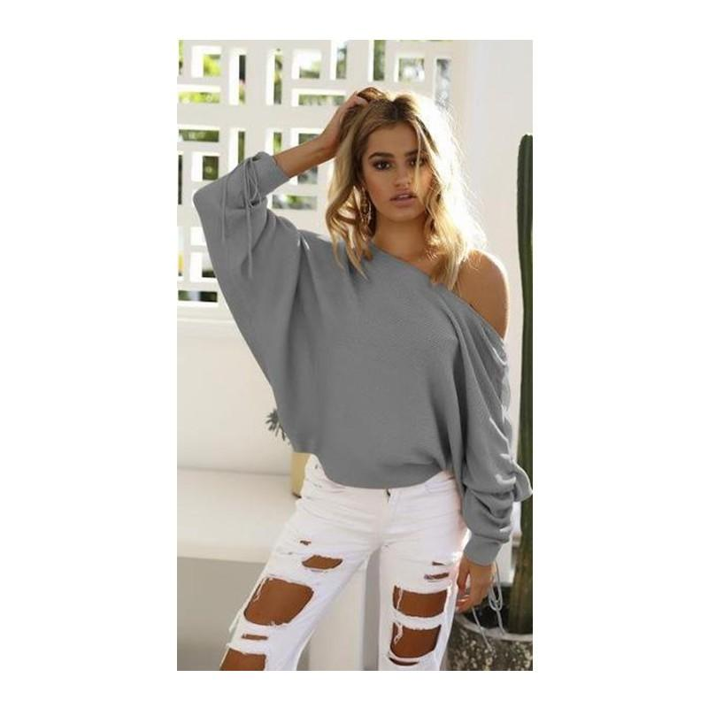 Skew Neck Knitted Sweater For Women - Women's Clothing / Tops & Sets / Hoodies & Sweatshirts