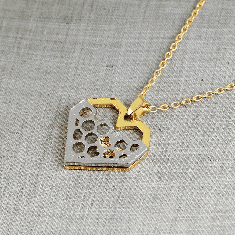 Heart Honeycomb Bee Necklace For Women - Jewelry & Watches / Fashion Jewelry / Necklace & Pendants
