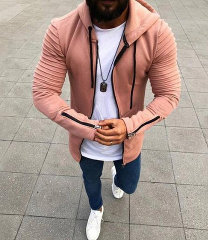 Image of Pleated Long Sleeve Hooded Sweater For Men - Men's Clothing / Outerwear & Jackets / Hoodies & Sweatshirts