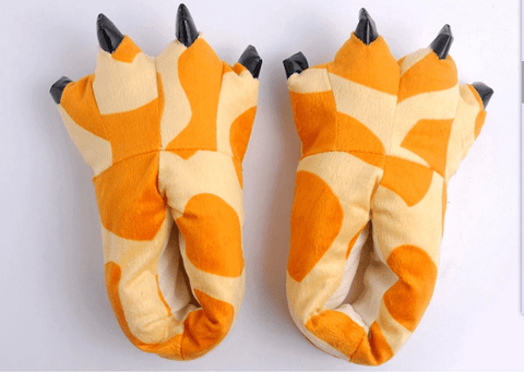 Image of Winter Soft Warm Dinosaur Paw Funny Slippers - Apparel