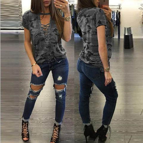 Image of Camouflage V-neck Short sleeve T-shirt For Women - Women's Clothing / Tops & Sets / Hoodies & Sweatshirts