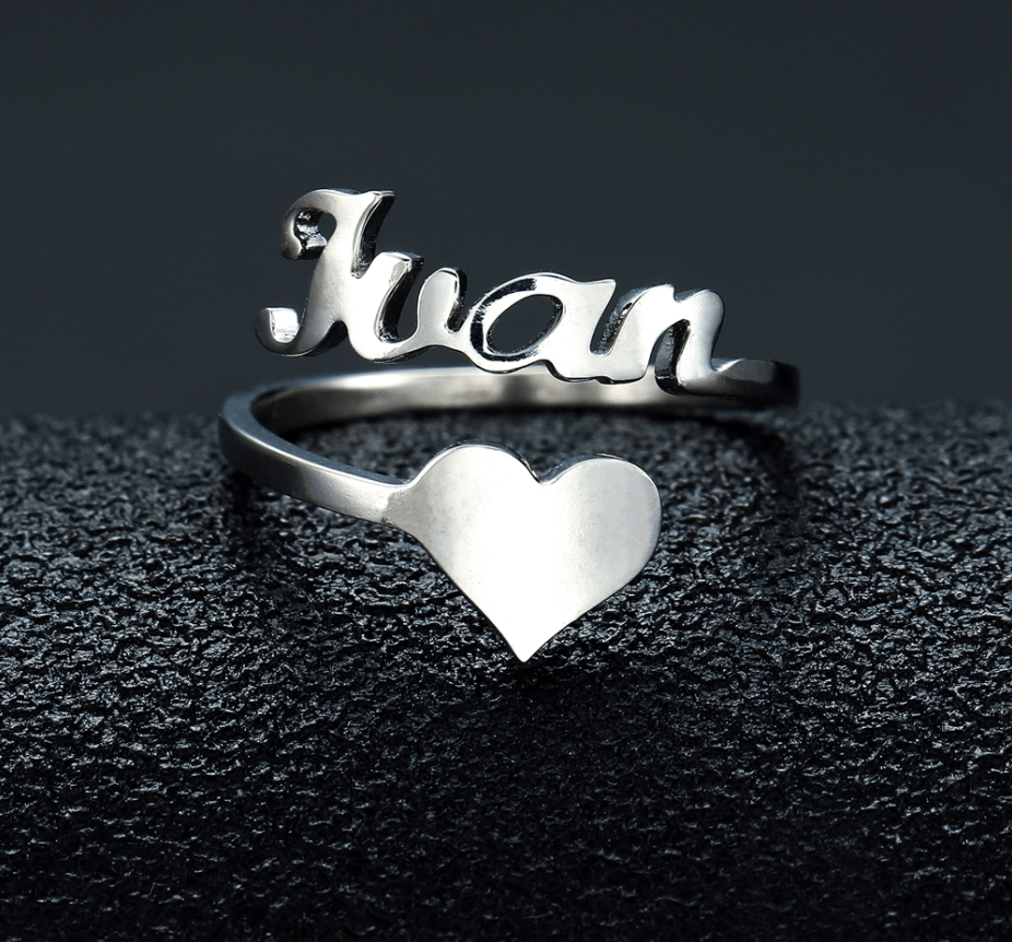 Personalized Custom Name Heart Ring In Gold And Silver - Jewelry & Watches / Fashion Jewelry / Earrings
