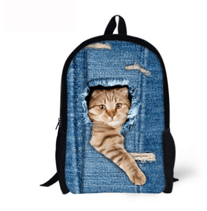 3D Cat Dog Print Backpacks For School