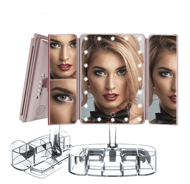 Image of Foldable Triple-Panel HD LED Makeup Mirror With Magnifying Glass | Vanity Mirror - Health & Beauty, Hair / Makeup / Makeup Set