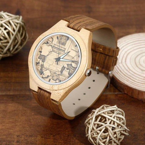 Image of Custom Engraved Bamboo Photo Watch With Wooden Leather Strap - Jewelry & Watches / Fashion Jewelry / Bracelets & Bangles