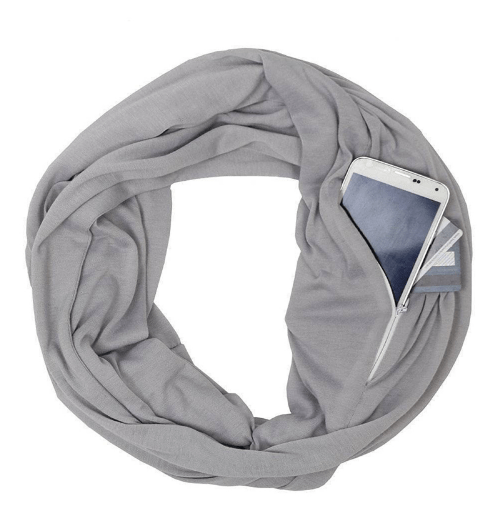 Pocket Scarf With Zipper Storage - Women's Clothing / Accessories / Scarves & Wraps