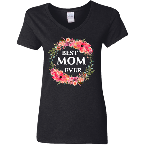 Best Mom Ever Ladies' 5.3 oz. V-Neck Tank T-Shirt (I)