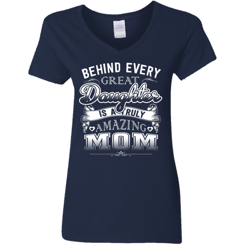 "Image of ""Amazing Mom"" Mother Daughter Ladies' V-Neck T-Shirt"