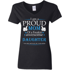 """I'm A Proud Mom"" Custom Printed Ladies' V-Neck T-Shirt"