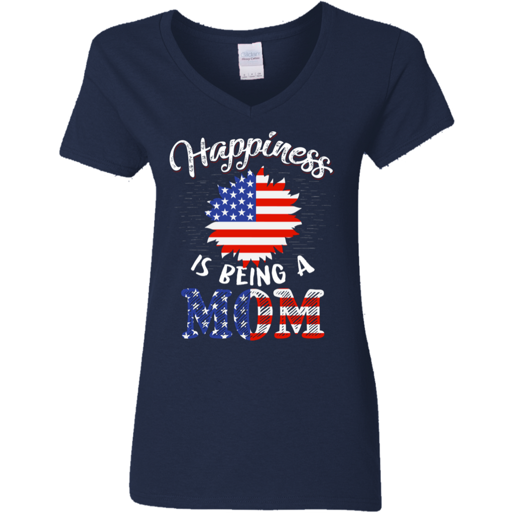 Happiness Is Being A Mom Ladies' V-Neck Navy Blue T-Shirt 5.3 oz.