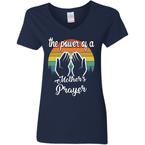 The Power Of A Mother's Prayer Ladies' Navy Blue V-Neck T-Shirt 5.3 oz.