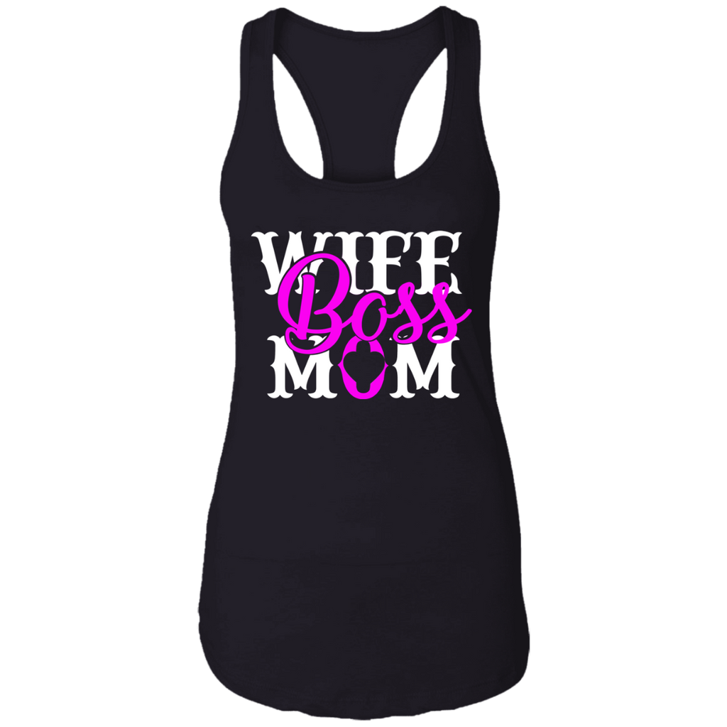 """Wife Boss Mom"" Ladies Ideal Racerback Tank"