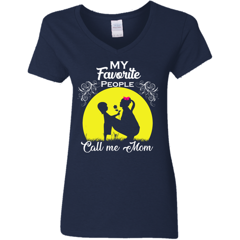 "Image of ""My Favorite People"" Mother Daughter Ladies' V-Neck T-Shirt"