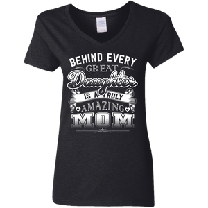 """Amazing Mom"" Mother Daughter Ladies' V-Neck T-Shirt"