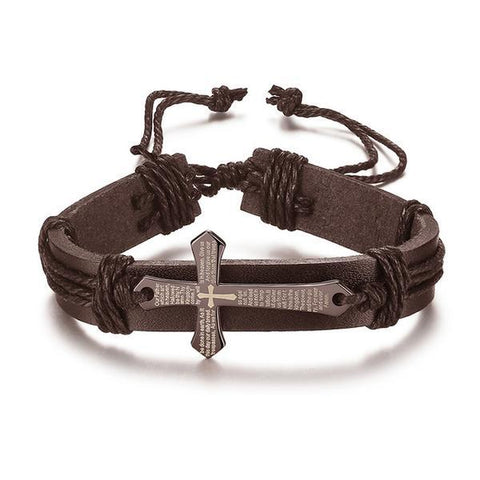 Image of Stainless Steel Alloy Cross Bracelet Leather Strap - Jewelry & Watches / Fashion Jewelry / Bracelets & Bangles