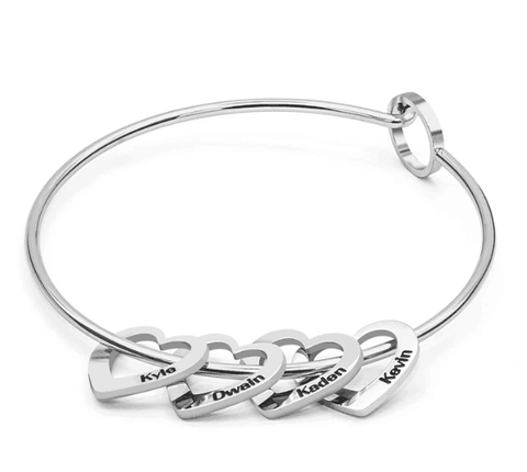 Image of LovingBox Bangle Bracelet With 4 Hearts Pendants - Jewelry & Watches/Fashion Jewelry/Bracelets & Bangles