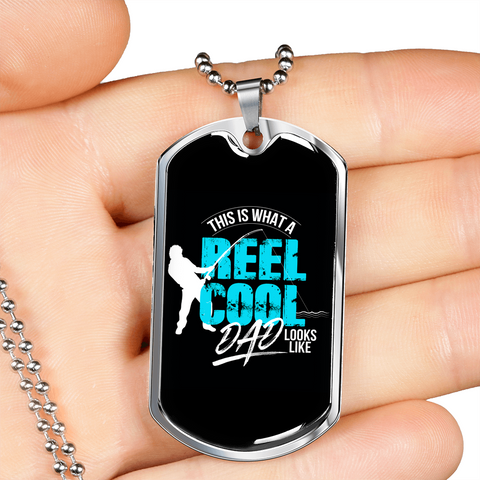"🏷️ ""Reel Cool Dad"" Luxury Dog Tag Necklace With Custom Text Engraving On The Back"
