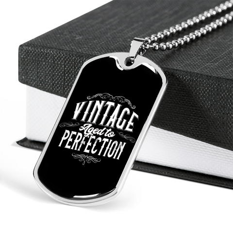 "🏷️ ""Vintage Aged To Perfection"" Luxury Dog Tag Necklace With Custom Text Engraving On The Back"