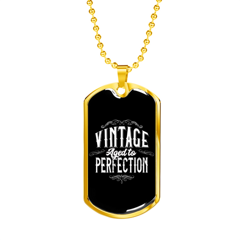 "Image of 🏷️ ""Vintage Aged To Perfection"" Luxury Dog Tag Necklace With Custom Text Engraving On The Back"