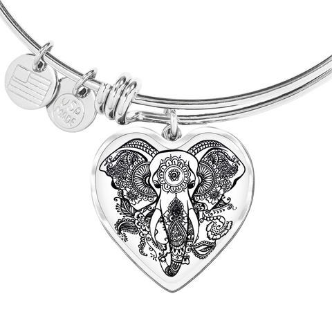 "💎 ""Spiritual Elephant"" Luxury 💝 Heart Bangle With Custom Text Engraving On The Back"