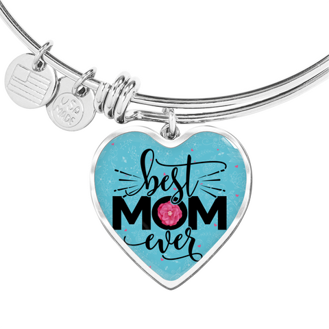 "💎 ""Best Mom Ever"" Luxury 💝 Heart Bangle With Custom Text Engraving On The Back"