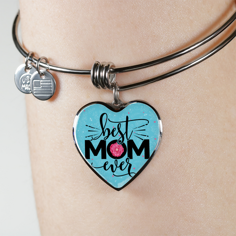 "Image of 💎 ""Best Mom Ever"" Luxury 💝 Heart Bangle With Custom Text Engraving On The Back"