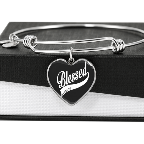 "💎 ""Blessed James 1:17"" Luxury 💝 Heart Bangle With Custom Text Engraving On The Back"