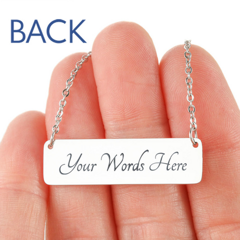 "💎 ""Police Mom"" Horizontal Bar Name Necklace With Custom Text Engraving On The Back"