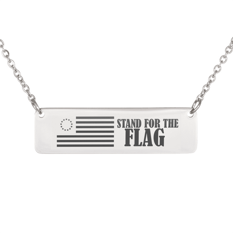 "💎 ""Stand For The Flag"" Horizontal Bar Name Necklace With Custom Text Engraving On The Back"
