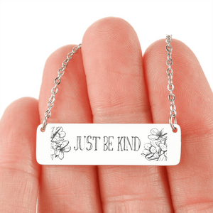 "💎 ""Just Be Kind"" Horizontal Bar Name Necklace With Custom Text Engraving On The Back"
