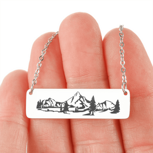 "💎 ""Wilderness"" Horizontal Bar Name Necklace With Custom Text Engraving On The Back"