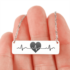 "💎 ""Heartbeat"" Horizontal Bar Name Necklace With Custom Text Engraving On The Back"