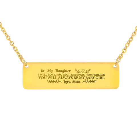 "💎 ""To My Daughter - You'll Always Be My Baby Girl"" Horizontal Bar Name Necklace With Custom Text Engraving On The Back"