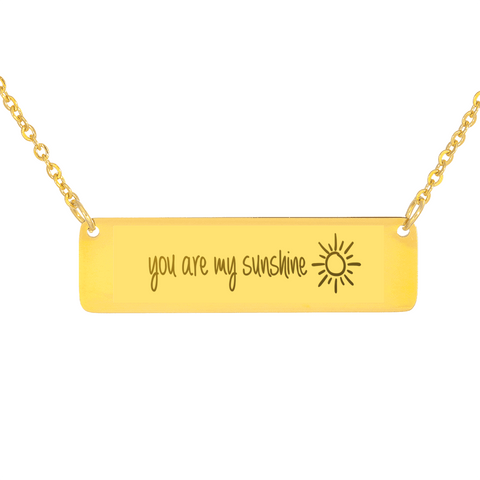 "💎 ""You Are My Sunshine"" Horizontal Bar Name Necklace With Custom Text Engraving On The Back"