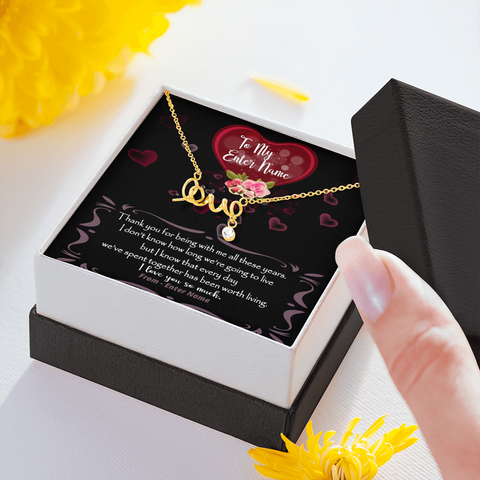 "💎 Scripted Love Necklace With Personalized Message Card ""Thank You For Being With Me All These Years"""