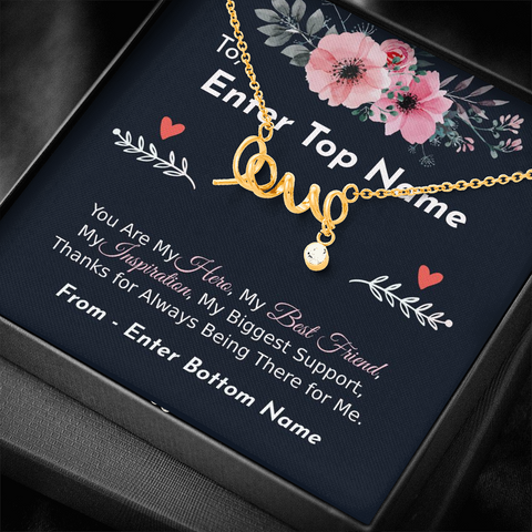 "Image of 💎 Scripted Love Necklace With Personalized Message Card ""You Are My Hero"""