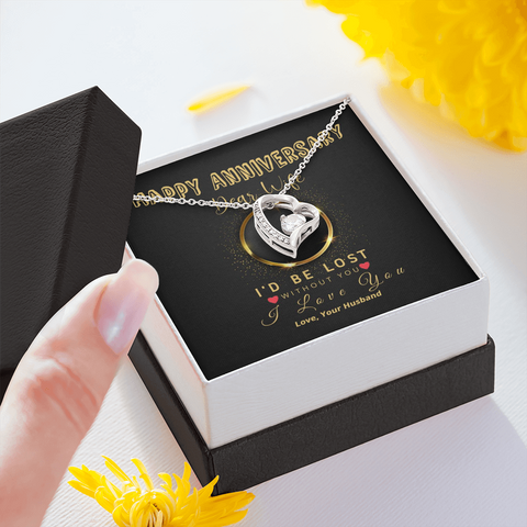 "🥂 To My Wife - Happy Anniversary Forever Love Necklace With ""I'd Be Lost Without You"" Message Card"
