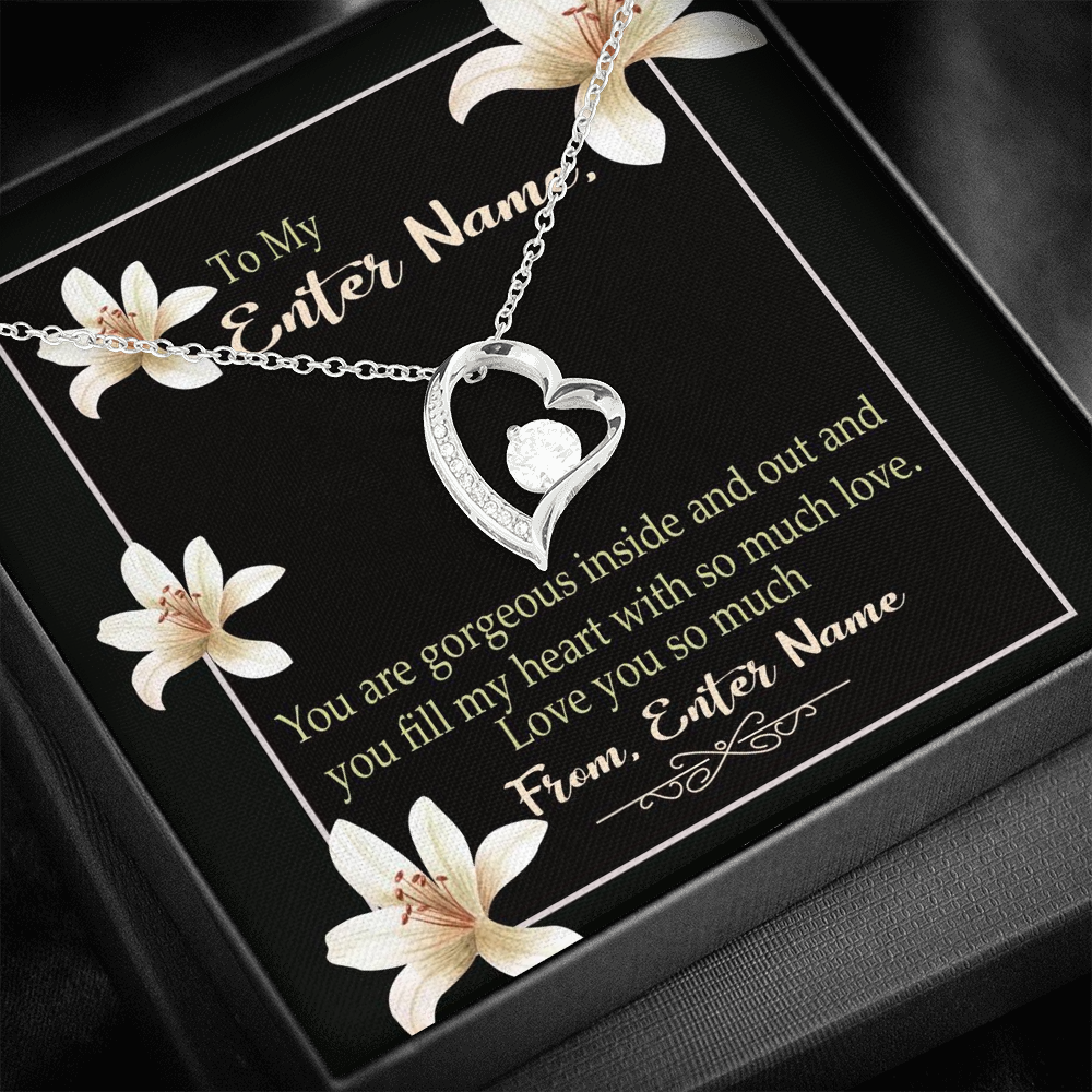 "💎 Forever Love Necklace With Personalized Message Card ""You Are Gorgeous Inside And Out"""