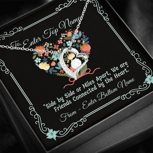 "💎 Forever Love Necklace With Personalized Message Card ""Side By Side Or Miles Apart"""