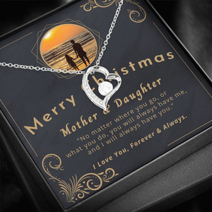 "💎 Mother And Daughter Necklace - Merry Christmas 🎅🎄 Forever Love Necklace With ""No Matter Where You Go"" Message Card, Gifts for Mom, Gifts for Daughter 👩‍👧"