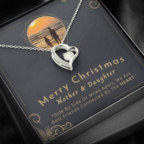 "💎 Mother And Daughter Necklace - Merry Christmas 🎅🎄 Forever Love Heart Necklace With ""Side By Side Or Miles Apart"" Message Card, Perfect Gifts for Mom, Gifts for Daughter 👩‍👧"