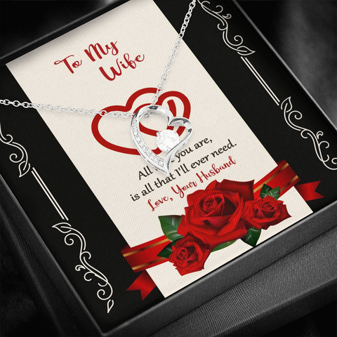"Image of 💎 To My Wife Forever Love Necklace With ""All That I'll Ever Need"" Message Card"